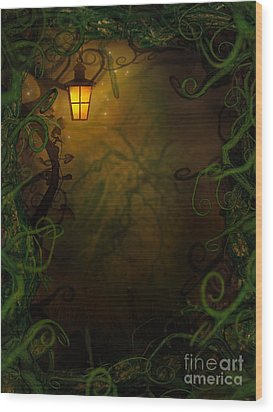 Halloween Background With Spooky Vines Wood Print by Mythja  Photography