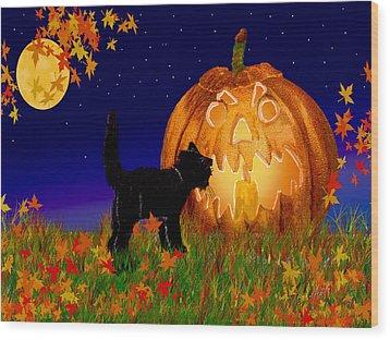 Halloween Black Cat Meets The Giant Pumpkin Wood Print