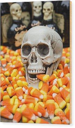 Halloween Candy Corn Wood Print by Edward Fielding