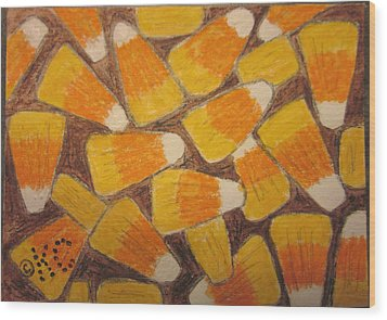 Halloween Candy Corn Wood Print by Kathy Marrs Chandler