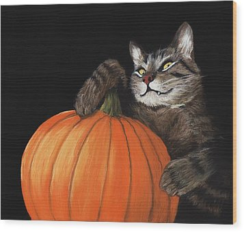 Wood Print featuring the painting Halloween Cat by Anastasiya Malakhova