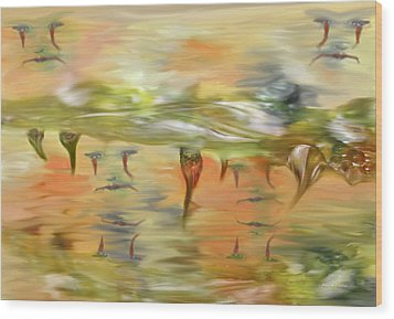 Halloween Clown Morning Tear Drops Reflection Wood Print by Angela A Stanton