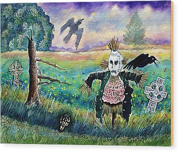 Halloween Field With Funny Scarecrow Skeleton Hand And Crows Wood Print by Ion vincent DAnu