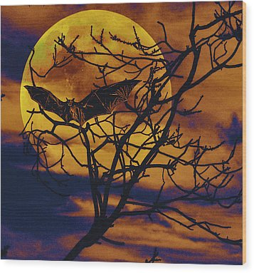 Wood Print featuring the painting Halloween Full Moon Terror by David Mckinney
