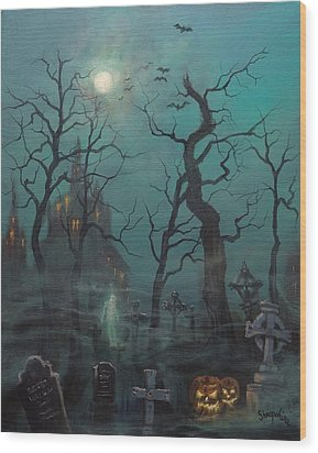 Halloween Ghost Wood Print by Tom Shropshire