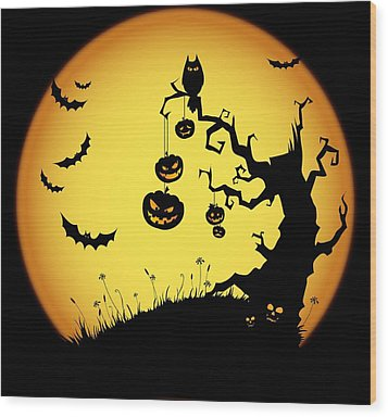 Halloween Haunted Tree Wood Print by Gianfranco Weiss