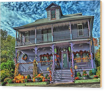 Halloween House Wood Print