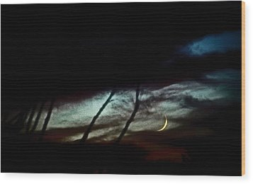 Halloween Moon Over Tucson Desert Wood Print by Jon Van Gilder