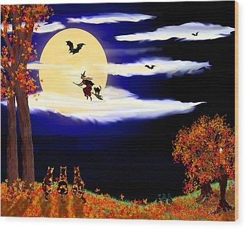 Halloween Night Wood Print by Michele Avanti