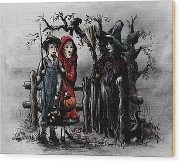 Halloween Night Wood Print by Rachel Christine Nowicki