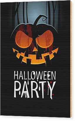 Wood Print featuring the painting Halloween Party by Gianfranco Weiss