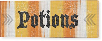 Halloween Potions Sign Wood Print by Linda Woods
