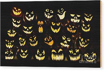 Halloween Pumpkin Faces Wood Print by Tim Gainey