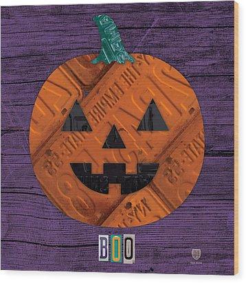 Halloween Pumpkin Holiday Boo License Plate Art Wood Print by Design Turnpike