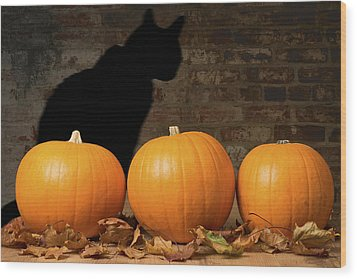 Halloween Pumpkins And The Witches Cat Wood Print by Amanda Elwell