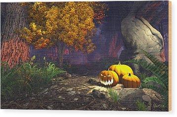 Halloween Pumpkins Wood Print by Marina Likholat