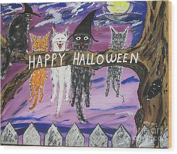 Halloween Scaredy Cats Wood Print