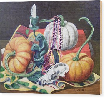 Wood Print featuring the painting Halloween Scene by Laura Aceto
