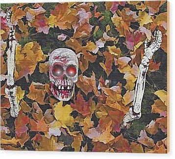 Halloween Skeleton Wood Print by Steve Ohlsen