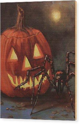 Halloween Spider Wood Print by Tom Shropshire