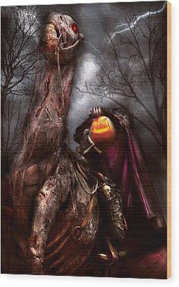 Halloween - The Headless Horseman Wood Print by Mike Savad