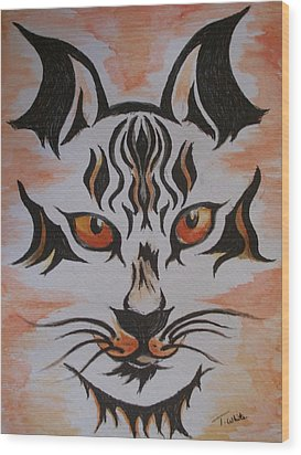 Wood Print featuring the painting Halloween Wild Cat by Teresa White