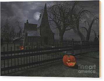 Halloween Witch House - 1 Wood Print by Fairy Fantasies