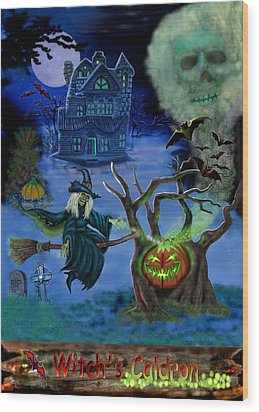 Halloween Witch's Coldron Wood Print by Glenn Holbrook