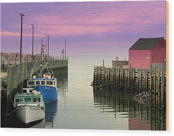 Halls Harbour Evening Wood Print by Brian Chase