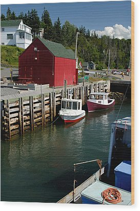 Halls Harbour Fishing Cove Wood Print by Norman Pogson