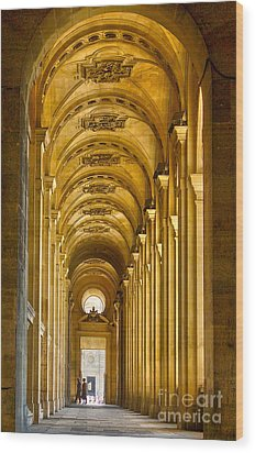 Hallway At The Louvre In Paris Wood Print by Cynthia Lagoudakis