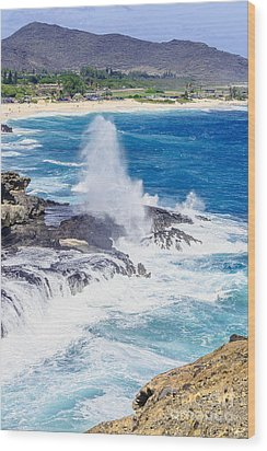 Wood Print featuring the photograph Halona Blowhole Huge Geyser by Aloha Art