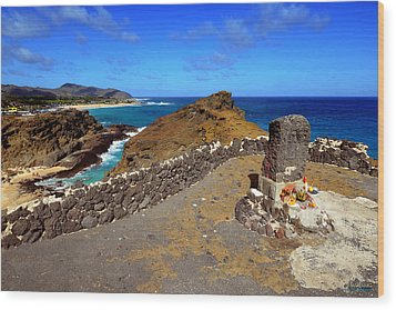 Wood Print featuring the photograph Halona Blowhole Monument by Aloha Art