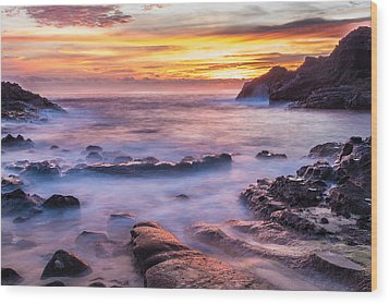 Halona Cove Sunrise 3 Wood Print