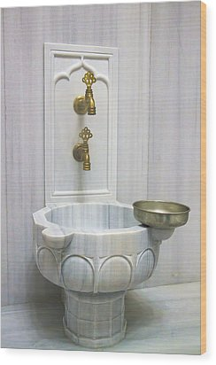 Hamam Marble Sink In Istanbul Wood Print