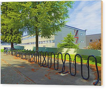 Wood Print featuring the photograph Bike Rack by Laurie Tsemak