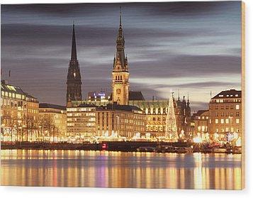 Hamburg Christmas Wood Print by Marc Huebner