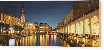 Hamburg City Wood Print by Marc Huebner
