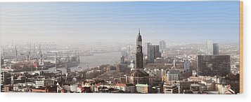 Hamburg Elbe Panorama Wood Print by Marc Huebner