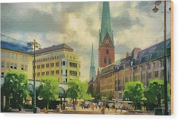 Hamburg Street Scene Wood Print by Jeffrey Kolker