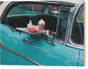 Wood Print featuring the photograph Hamburger Drive In Classic Car by Gunter Nezhoda