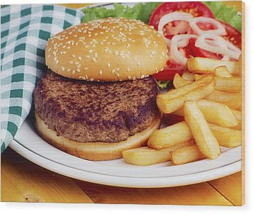 Hamburger & French Fries Wood Print by The Irish Image Collection