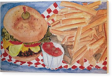 Hamburger Plate With Fries Wood Print by Carol Grimes