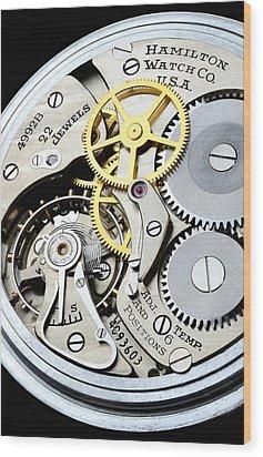 Vintage Pocket Watch Wood Print