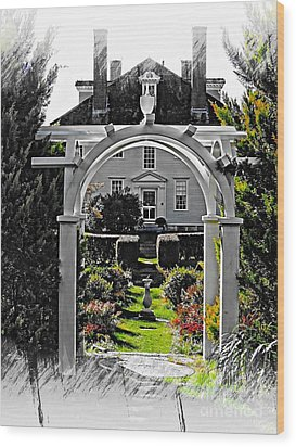 Hamilton House Gardens Wood Print