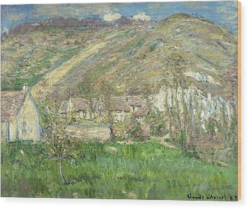 Hamlet In The Cliffs Near Giverny Wood Print by Claude Monet
