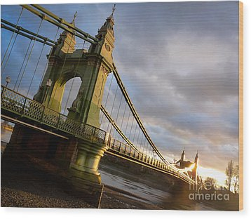 Wood Print featuring the photograph Hammersmith Bridge In London by Peta Thames