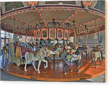 Hampton Carousel 2 Wood Print by Jerry Gammon