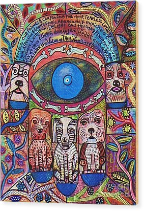 Hamsa Dog Blessing' Wood Print by Sandra Silberzweig