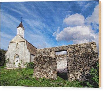 Wood Print featuring the photograph Hana Church 8 by Dawn Eshelman